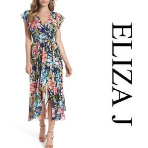 Eliza J Ruffle Floral Faux Wrap High/Low Dress